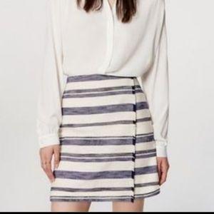 Loft Striped Wrap Blue and White Fringe Mini Skirt
